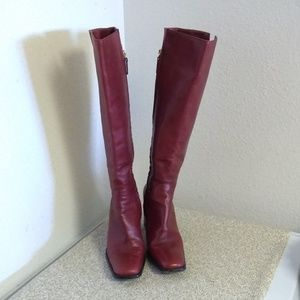 Sergio Rossi Red Leather Knee High Boots